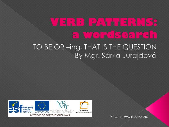 Verb patterns a wordsearch