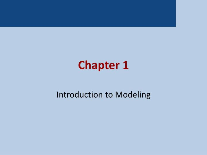 introduction to modeling n.