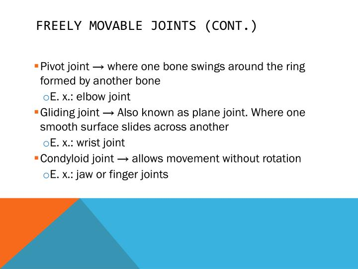 Freely movable joints (cont.)
