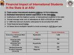 financial impact of international students in the state at asu