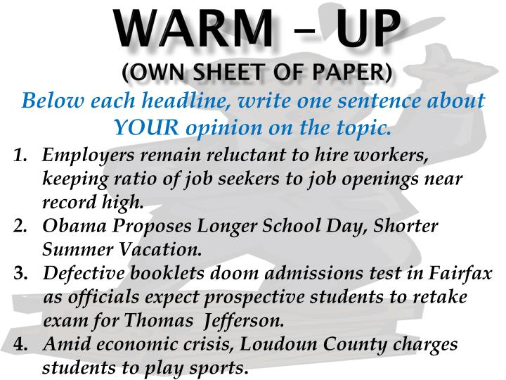 PPT - Warm – up (OWN Sheet of paper) PowerPoint Presentation