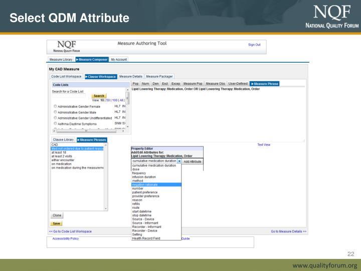 Select QDM Attribute