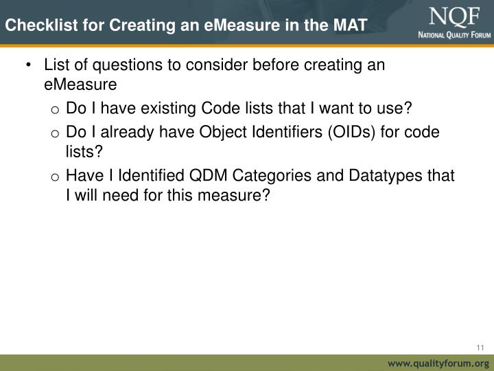 Checklist for Creating an eMeasure in the MAT