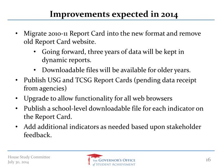 Improvements expected in 2014