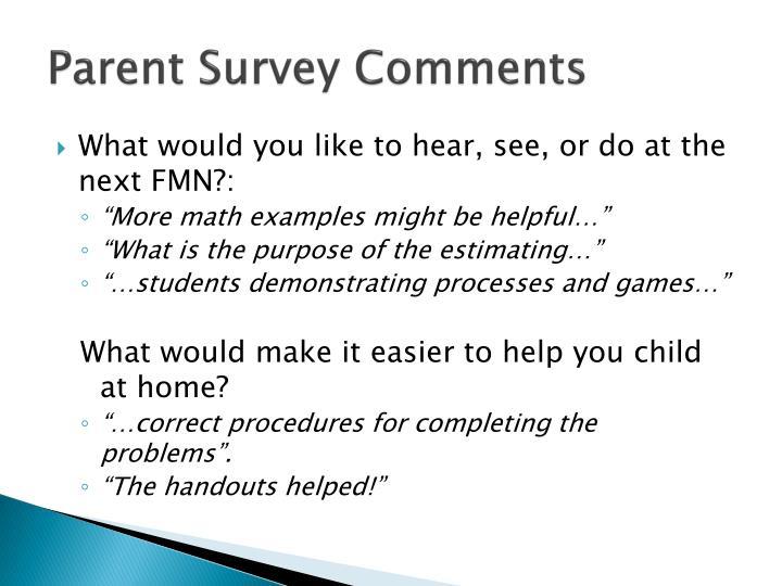 Parent Survey Comments