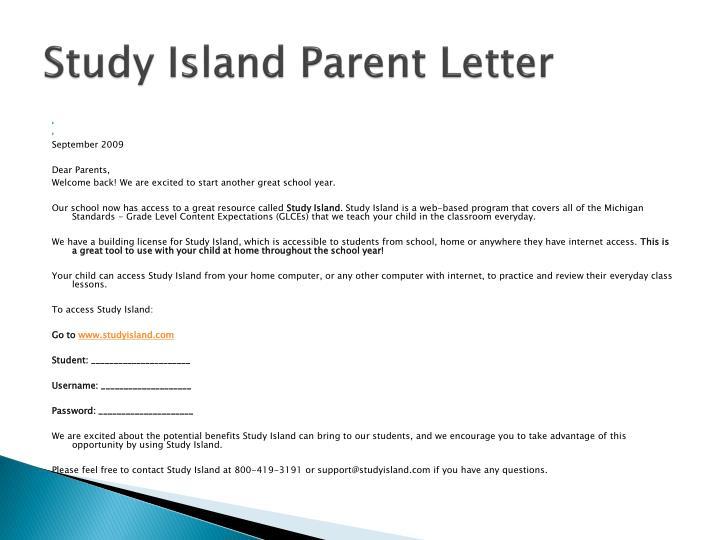 Study Island Parent Letter