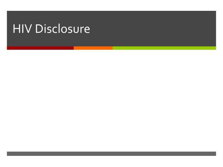 HIV Disclosure