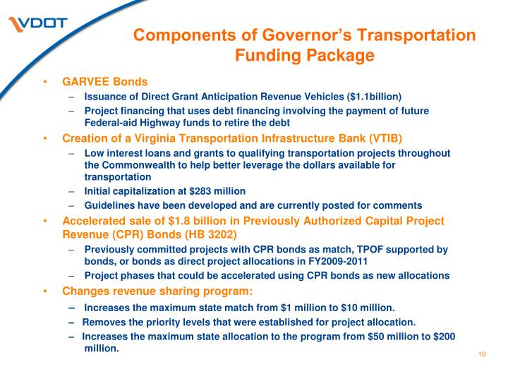 Components of Governor's Transportation Funding Package