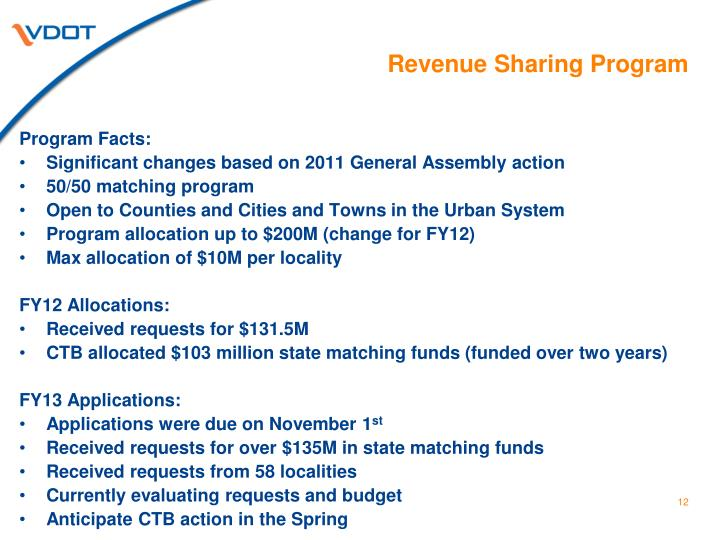 Revenue Sharing Program