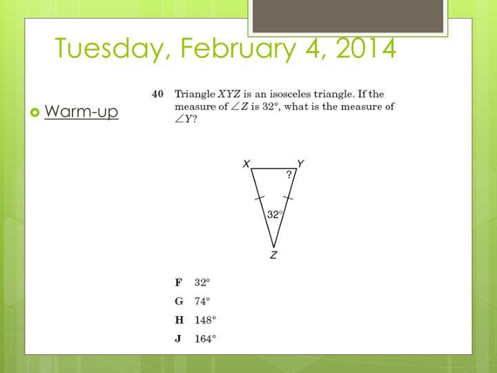Tuesday february 4 2014