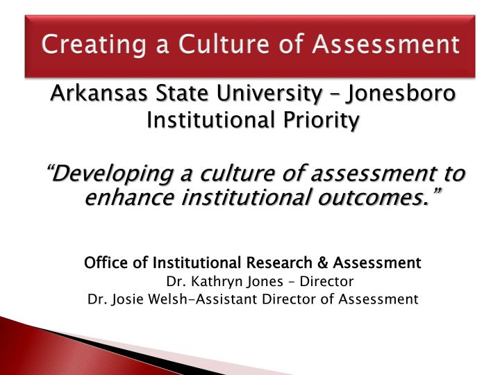 creating a culture of assessment n.