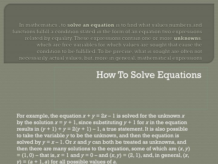 how to solve equations n.