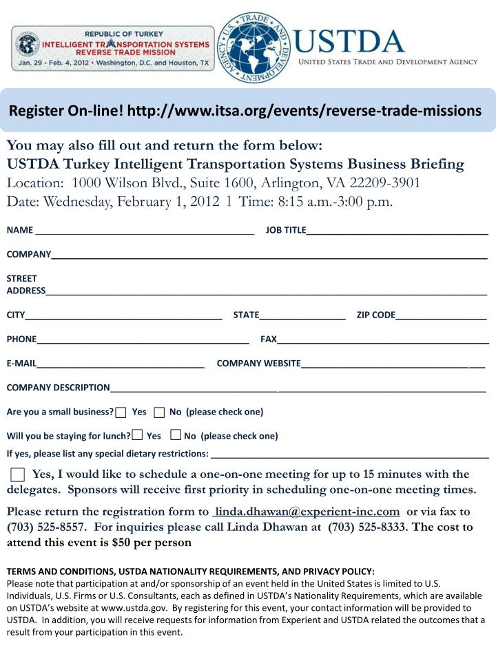Register On-line! http://www.itsa.org/events/reverse-trade-missions