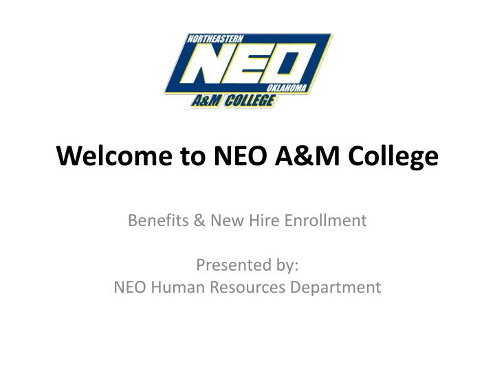 welcome to neo a m college n.