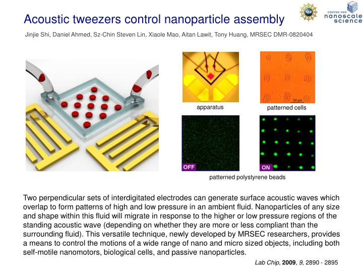 acoustic tweezers control nanoparticle assembly n.