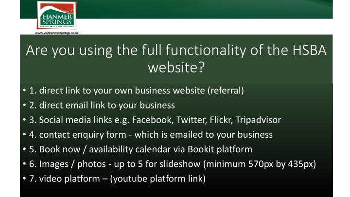 Are you using the full functionality of the hsba website