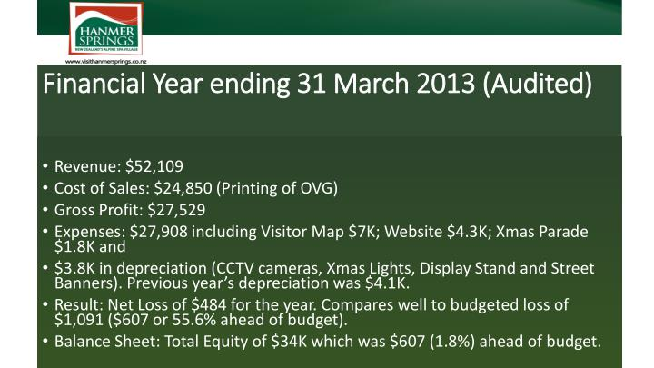 Financial Year ending 31 March 2013 (Audited)