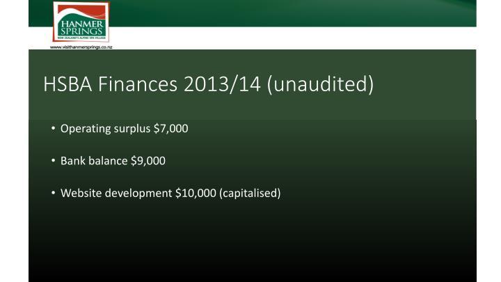 HSBA Finances 2013/14 (unaudited)