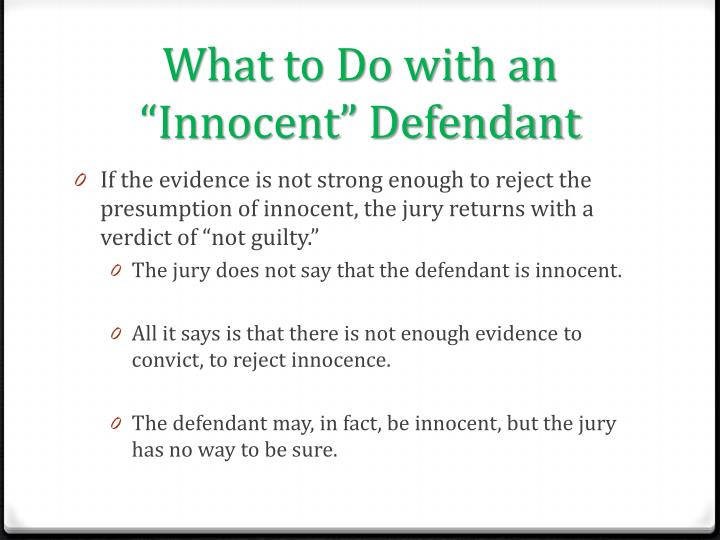 "What to Do with an ""Innocent"" Defendant"