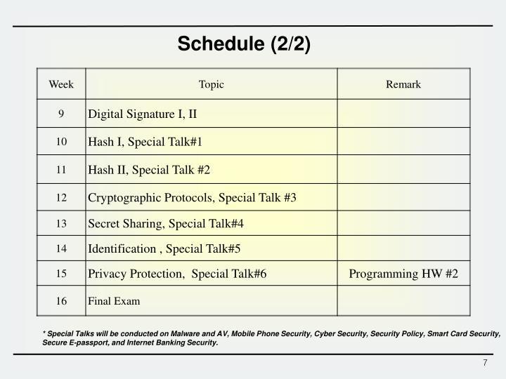 Schedule (2/2)
