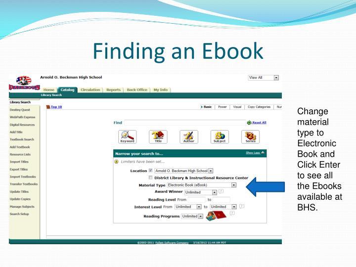 Finding an ebook