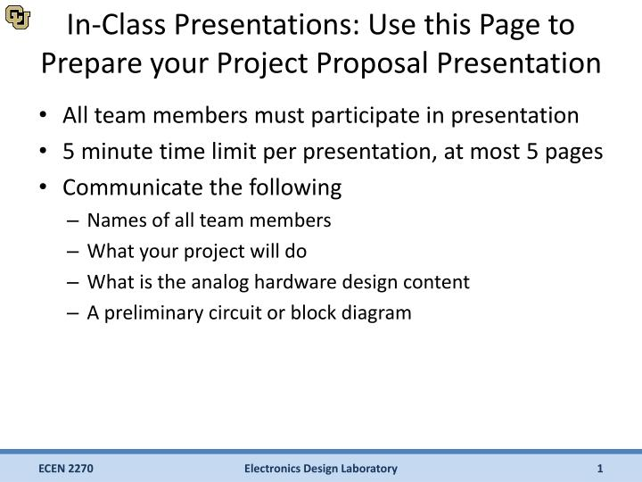 ppt in class presentations use this page to prepare your project