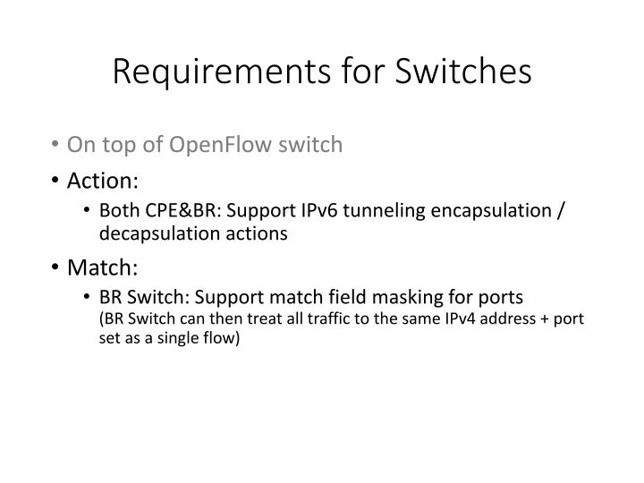 Requirements for Switches