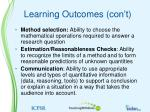 learning outcomes con t