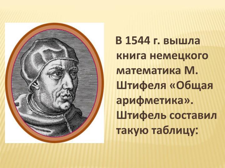 В 1544 г. вышла книга немецкого математика М. Штифеля «Общая арифметика». Штифель составил такую таблицу