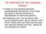 the existence of the external world