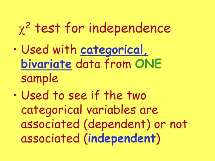 c 2 test for independence n.