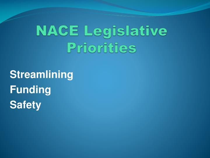 Nace legislative priorities