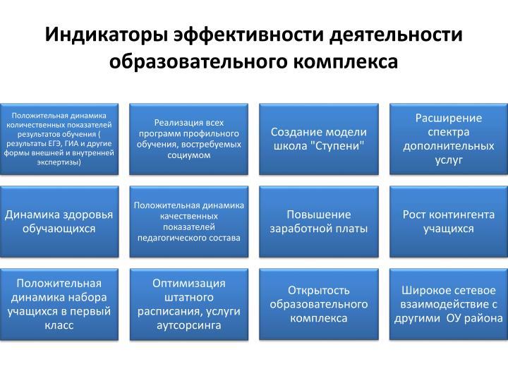Индикаторы эффективности деятельности образовательного комплекса