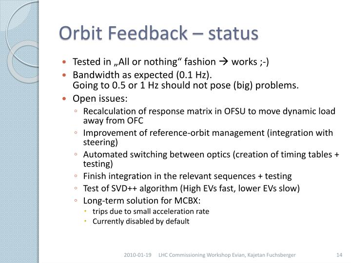 Orbit Feedback – status