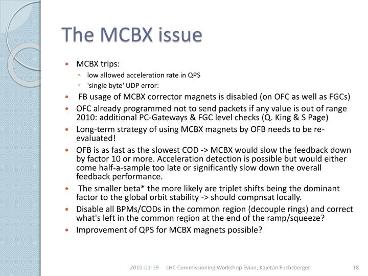 The MCBX issue