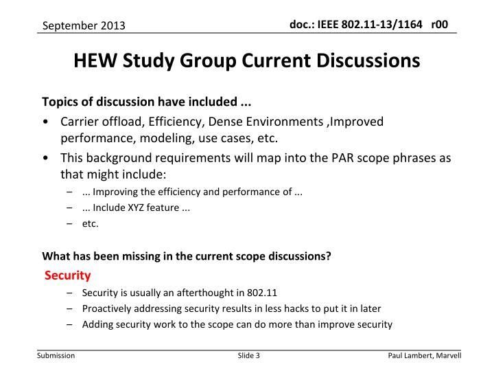 Hew study group current discussions
