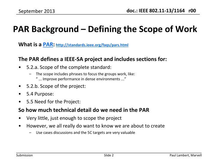 Par background defining the scope of work