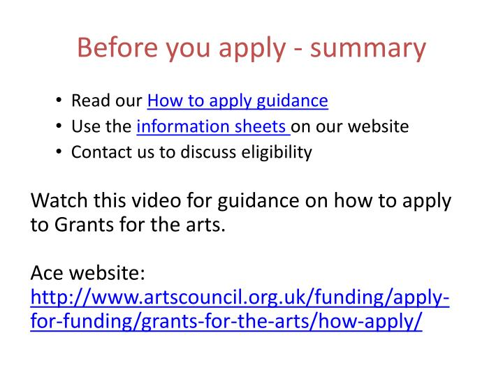 Before you apply - summary