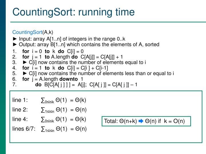 CountingSort: running time