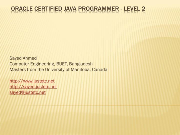 Oracle certified java programmer level 2