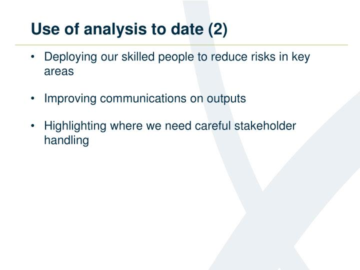 Use of analysis to date (2)