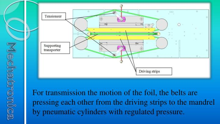 For transmission the motion of the foil, the belts are pressing each other from the driving strips to the mandrel by pneumatic cylinders with regulated pressure.
