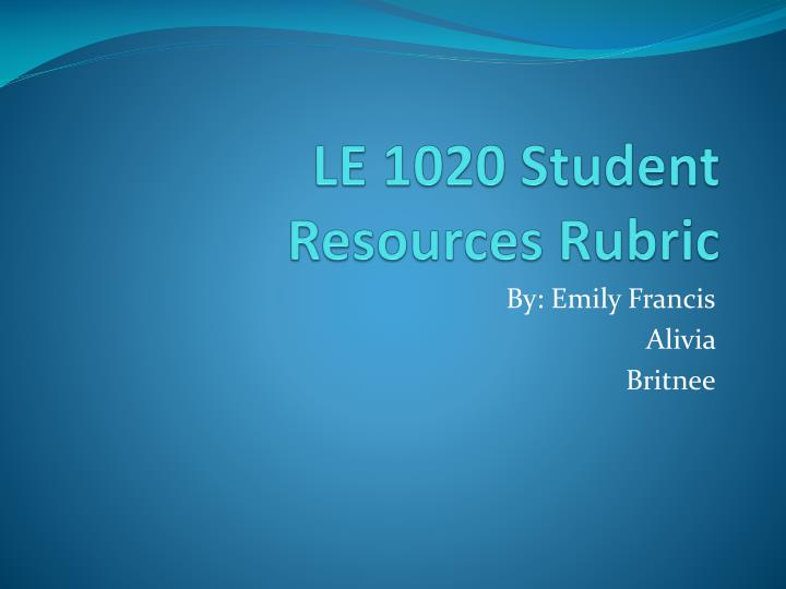 le 1020 student resources rubric n.