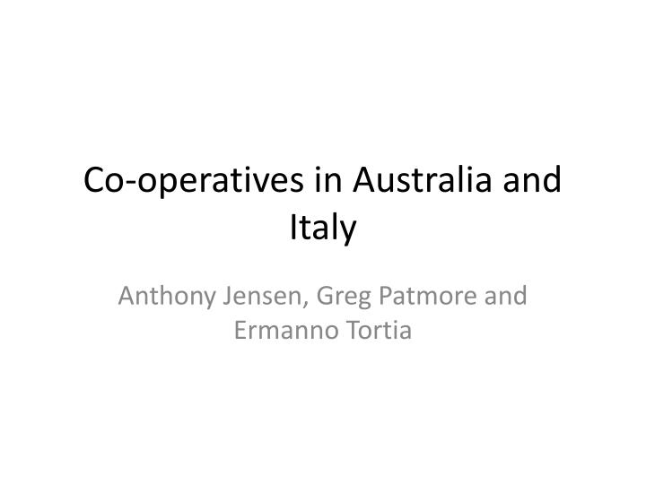 co operatives in australia and italy n.