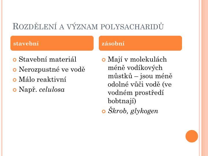 Rozdělení a význam polysacharidů
