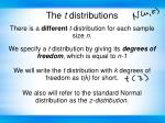 there is a different t distribution for each sample size n