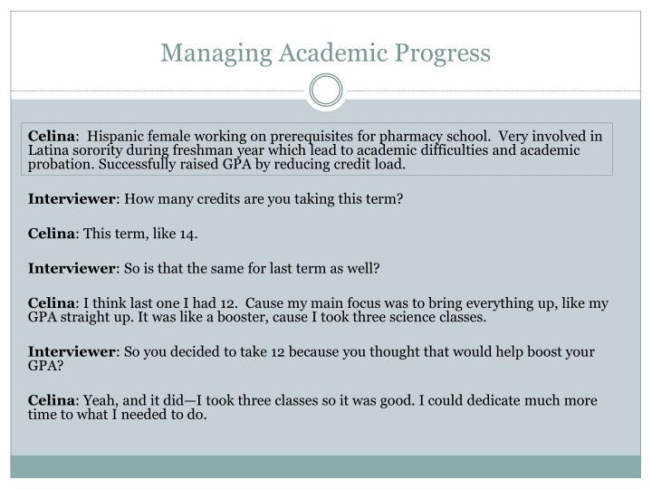 Managing Academic Progress