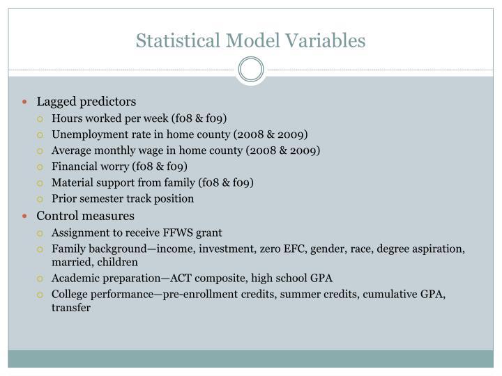 Statistical Model Variables