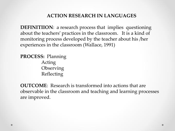 ACTION RESEARCH IN LANGUAGES