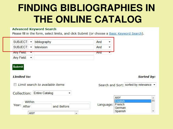 FINDING BIBLIOGRAPHIES IN